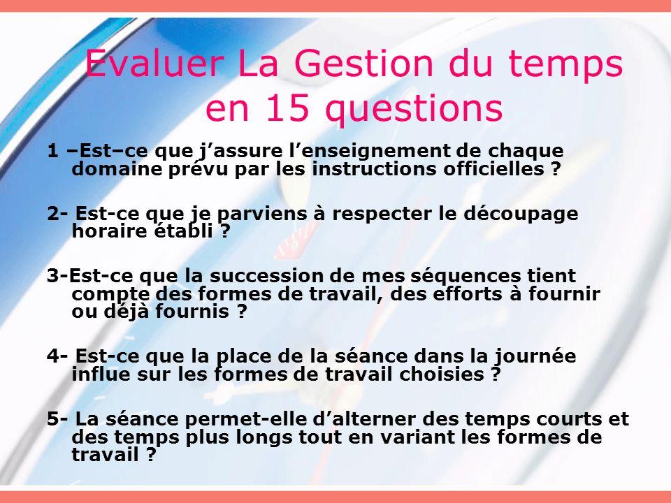 Evaluer La Gestion du temps en 15 questions