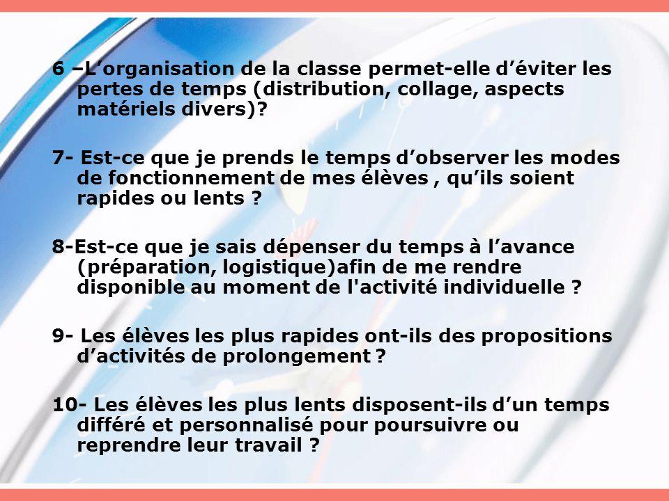 6 –L'organisation de la classe permet-elle d'éviter les pertes de temps (distribution, collage, aspects matériels divers)