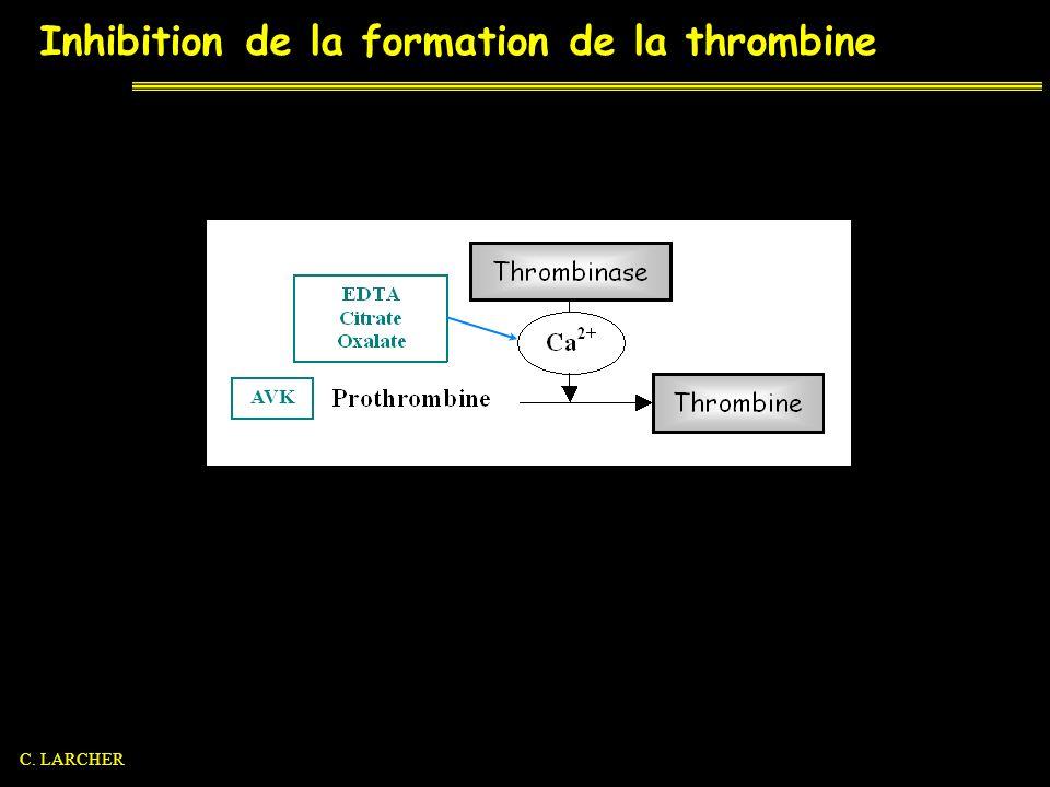 Inhibition de la formation de la thrombine