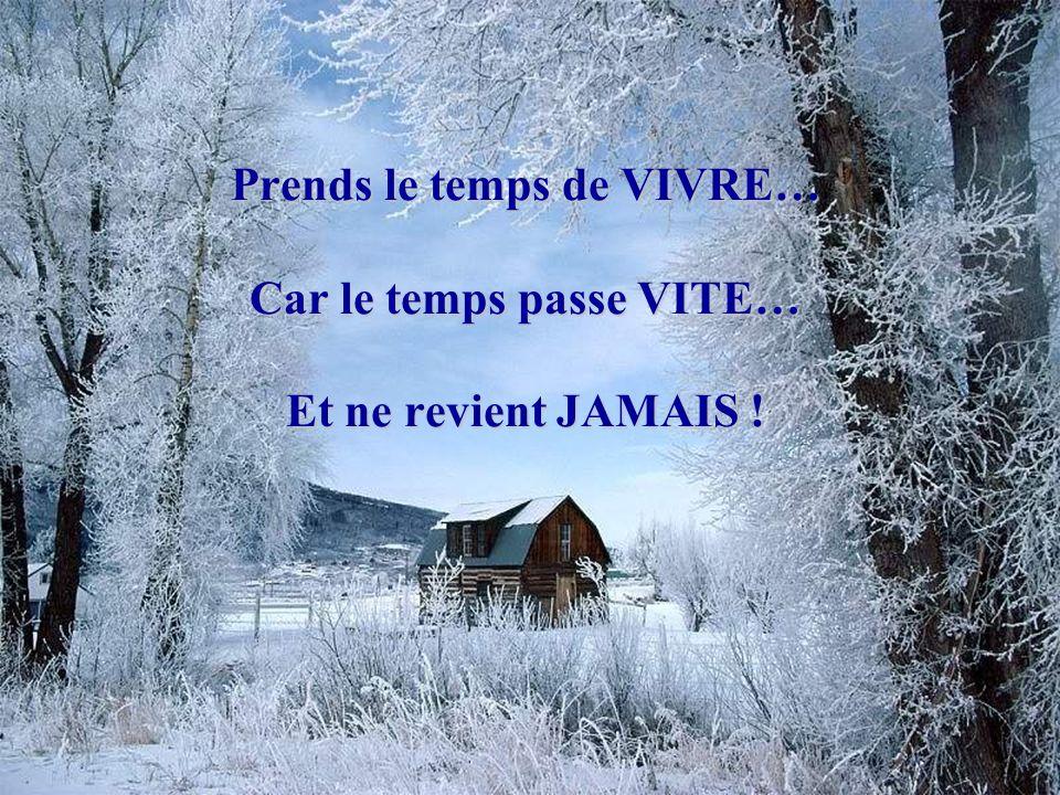 Prends le temps de VIVRE… Car le temps passe VITE… Et ne revient JAMAIS !