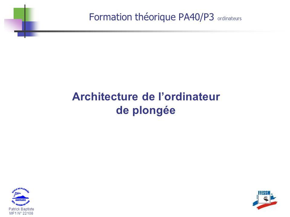 Architecture de l'ordinateur de plongée