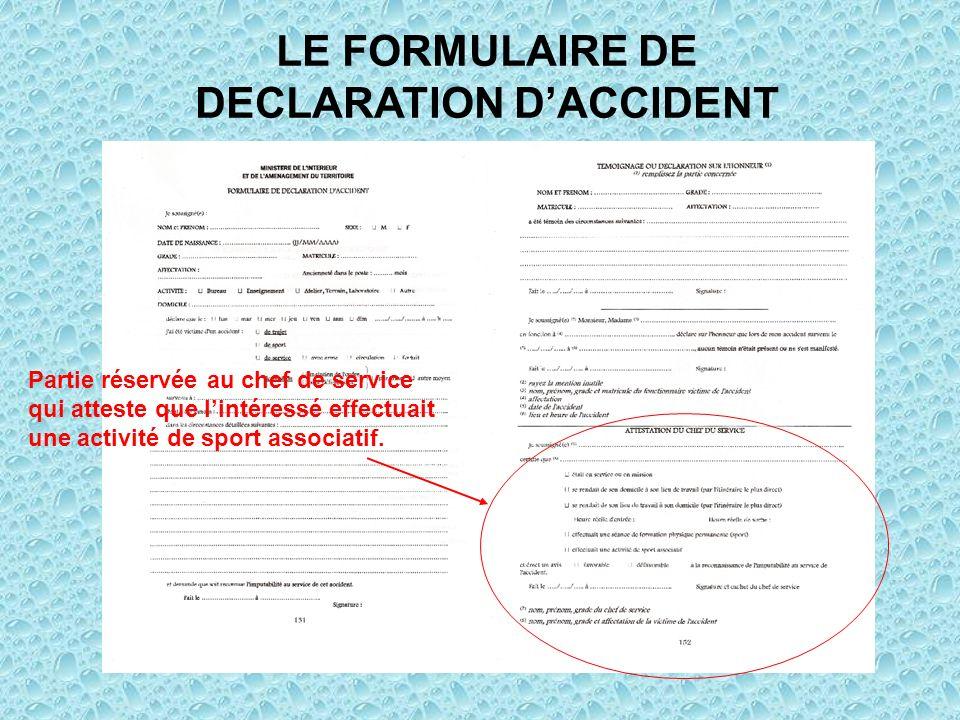 LE FORMULAIRE DE DECLARATION D'ACCIDENT