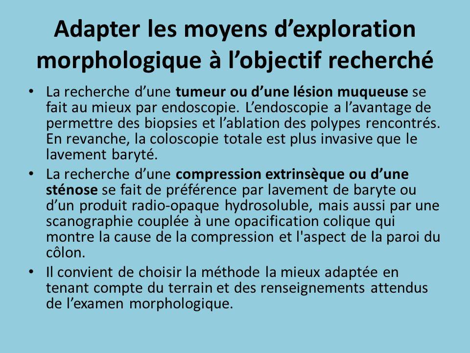 Adapter les moyens d'exploration morphologique à l'objectif recherché