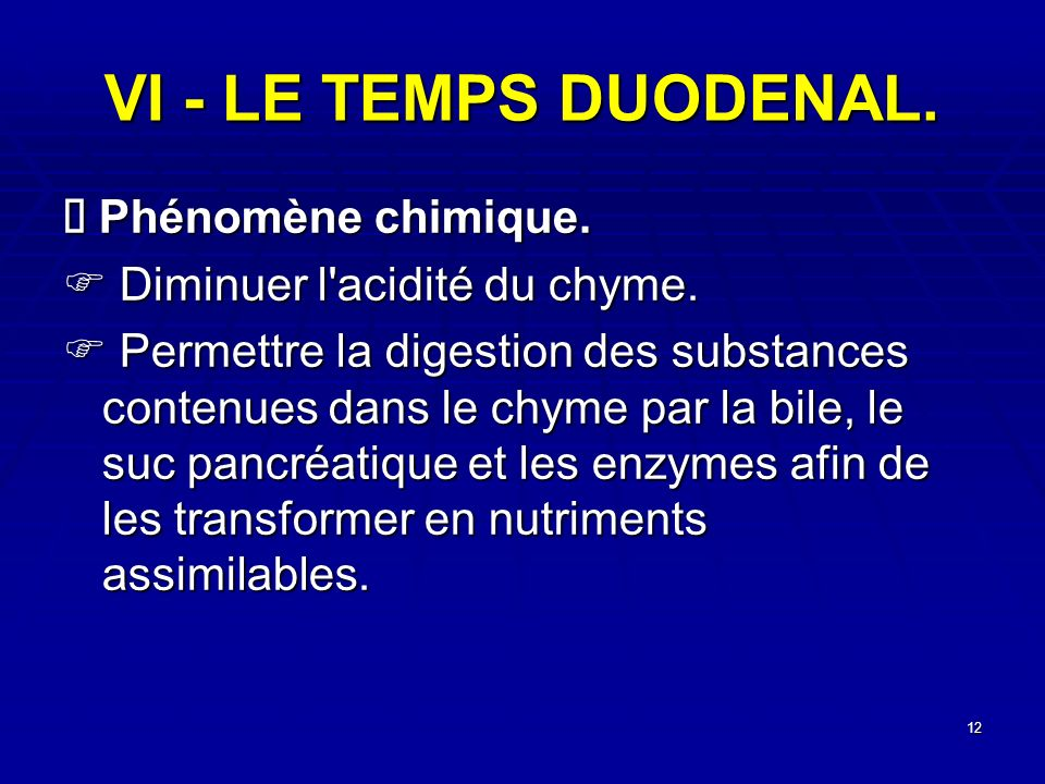 VI - LE TEMPS DUODENAL. Ä Phénomène chimique.