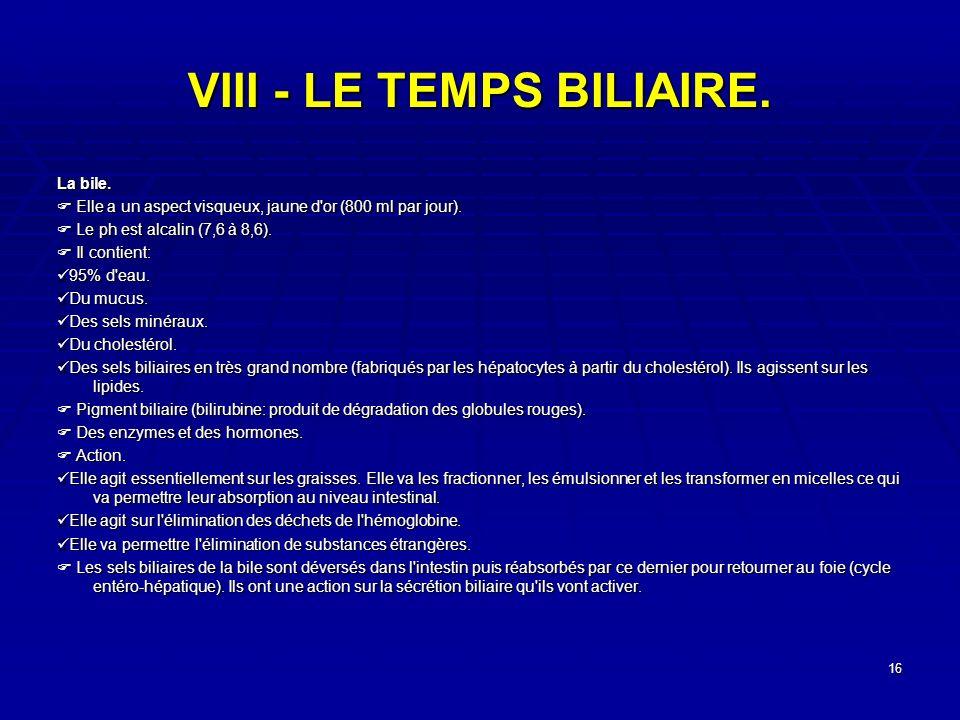 VIII - LE TEMPS BILIAIRE.