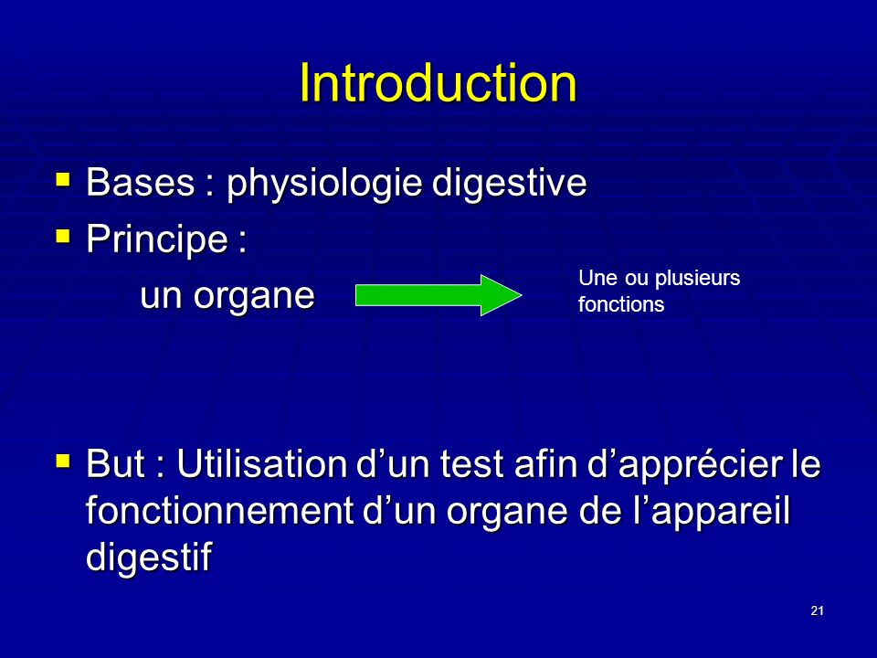 Introduction Bases : physiologie digestive Principe : un organe