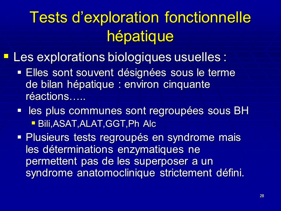 Tests d'exploration fonctionnelle hépatique