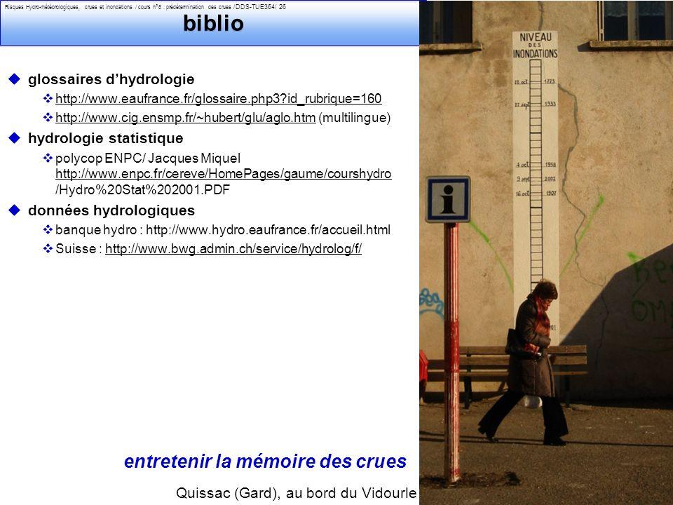 biblio entretenir la mémoire des crues glossaires d'hydrologie
