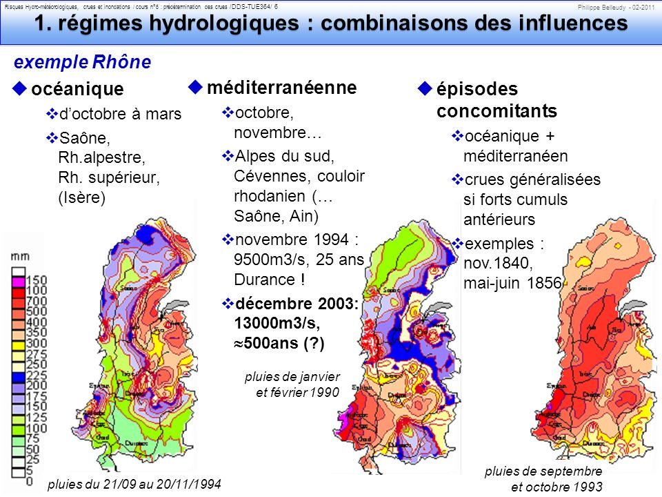 1. régimes hydrologiques : combinaisons des influences