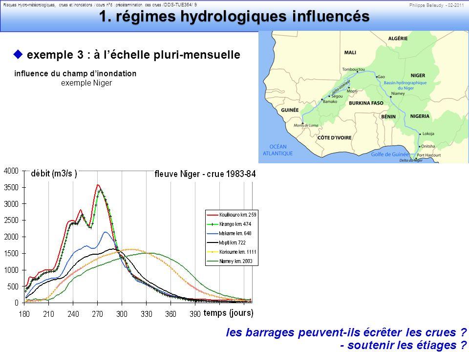 1. régimes hydrologiques influencés