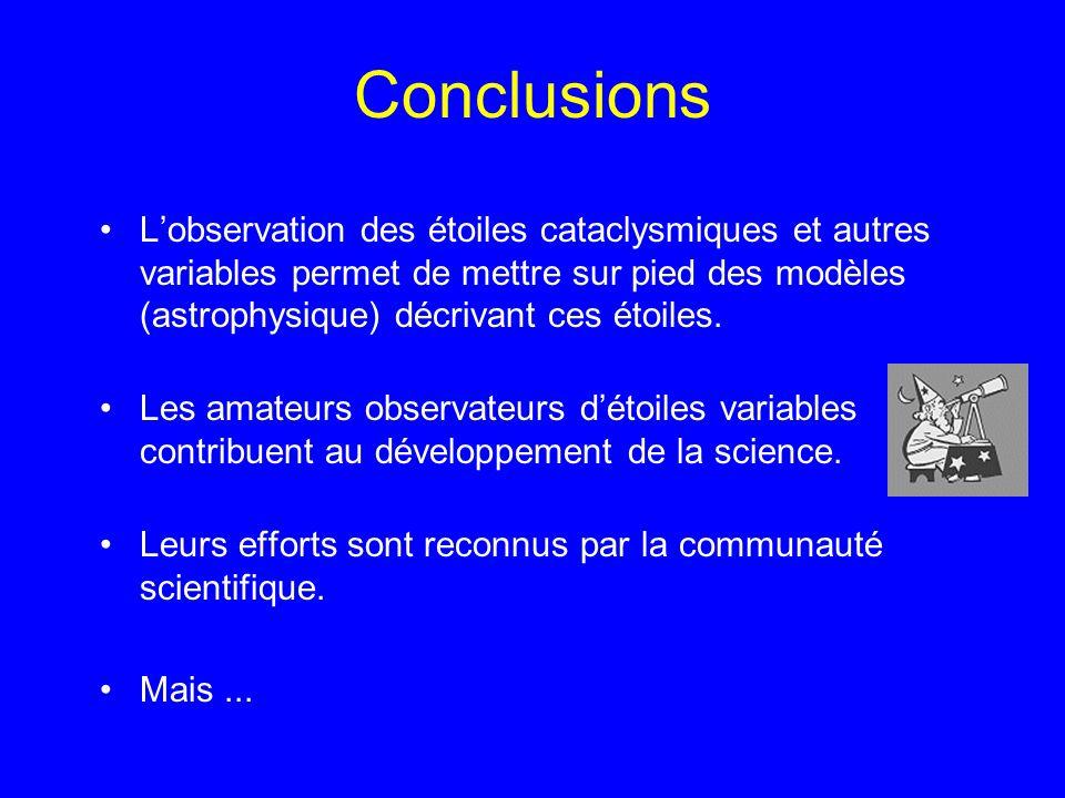 Conclusions L'observation des étoiles cataclysmiques et autres variables permet de mettre sur pied des modèles (astrophysique) décrivant ces étoiles.