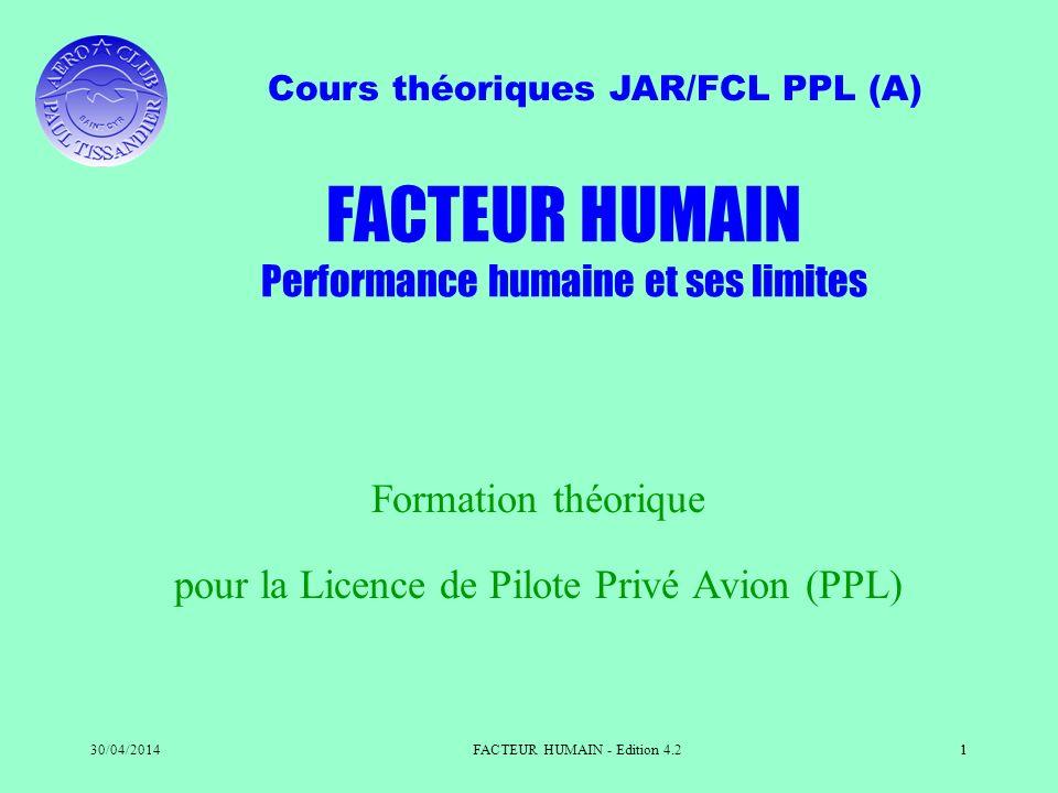 FACTEUR HUMAIN Performance humaine et ses limites