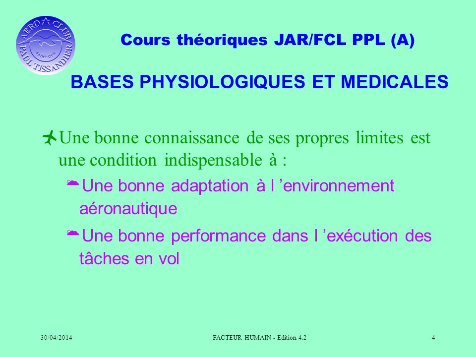 BASES PHYSIOLOGIQUES ET MEDICALES