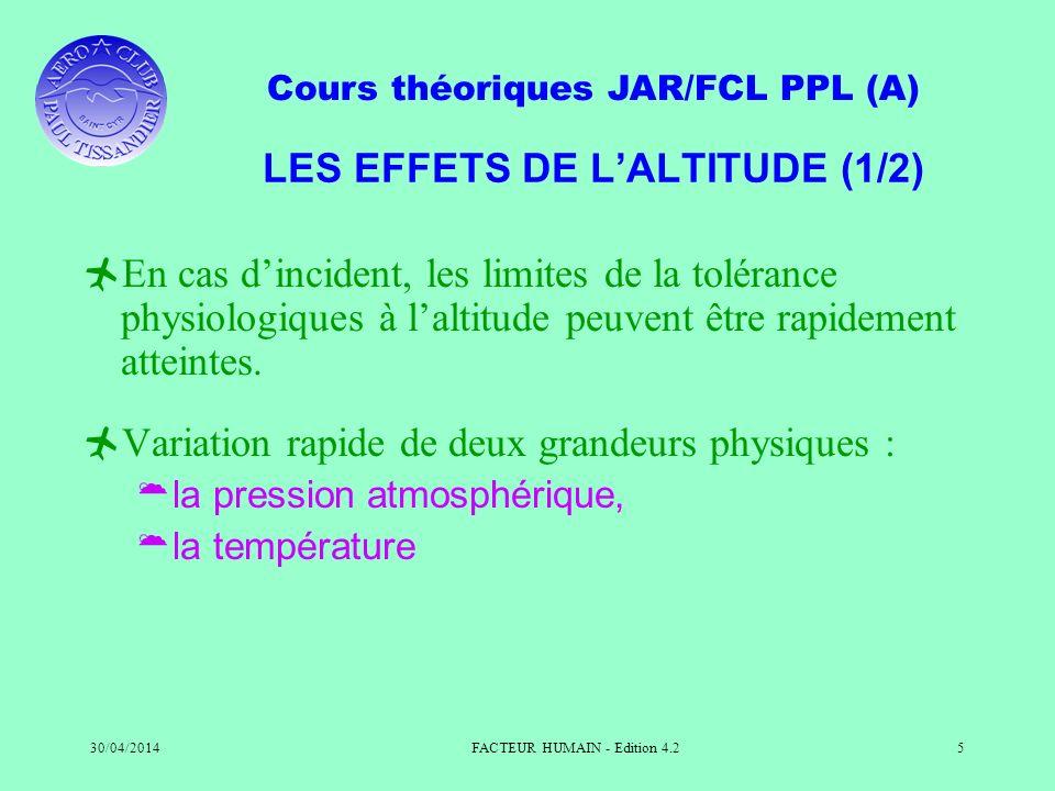 LES EFFETS DE L'ALTITUDE (1/2)