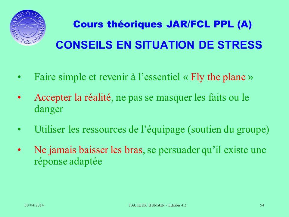 CONSEILS EN SITUATION DE STRESS