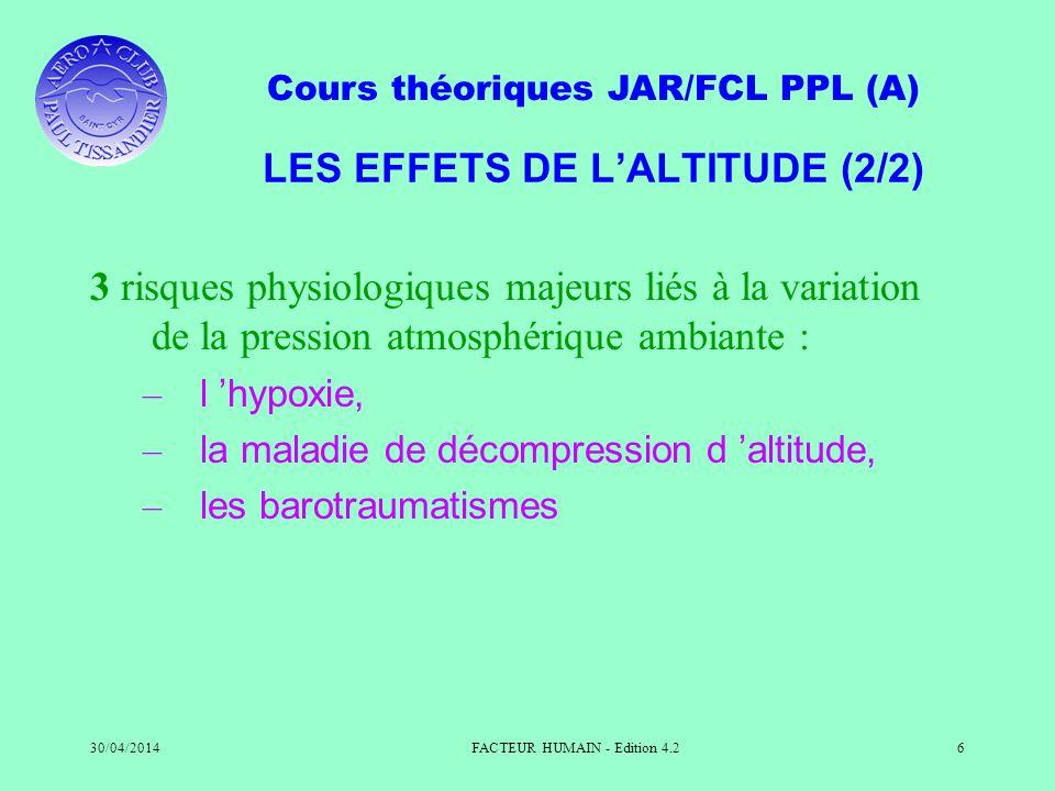 LES EFFETS DE L'ALTITUDE (2/2)