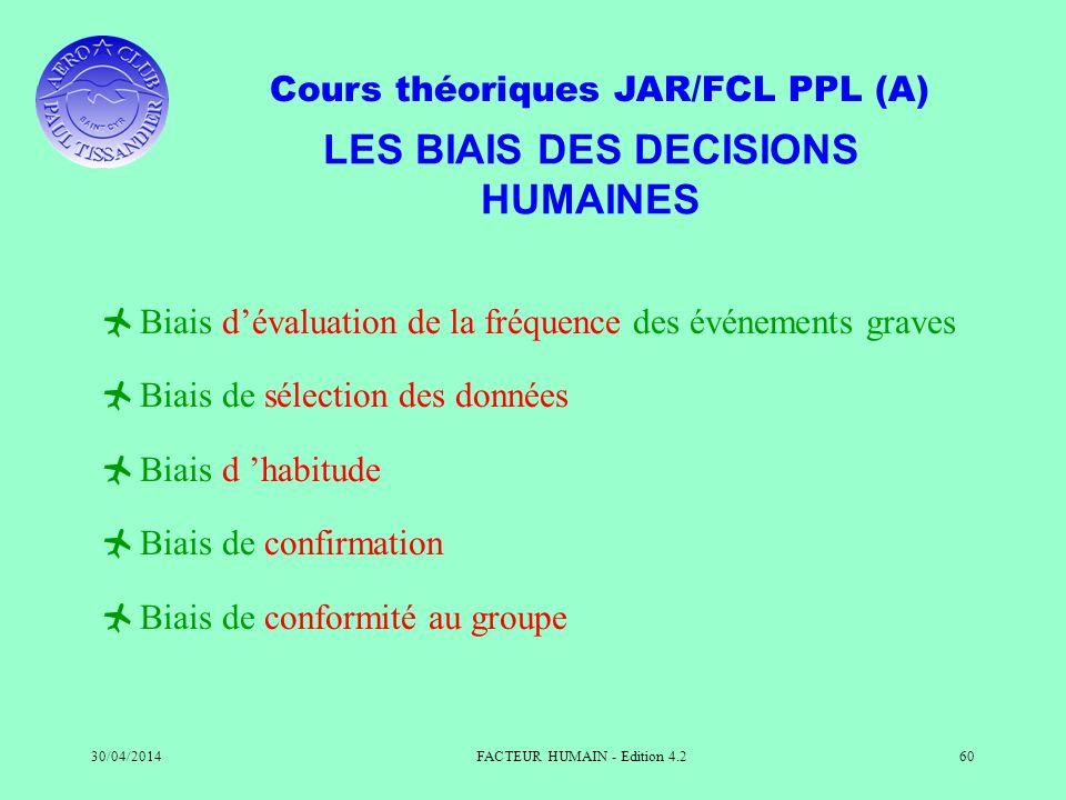 LES BIAIS DES DECISIONS HUMAINES