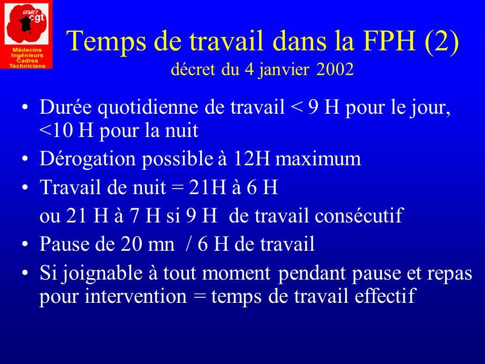 Temps de travail dans la FPH (2) décret du 4 janvier 2002