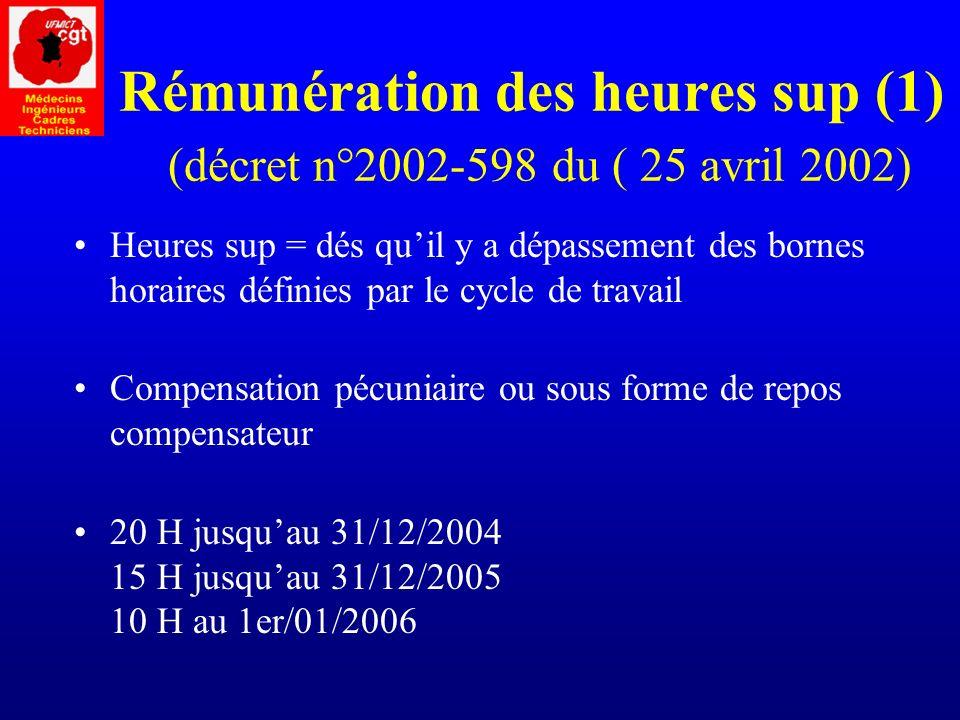 Rémunération des heures sup (1) (décret n°2002-598 du ( 25 avril 2002)