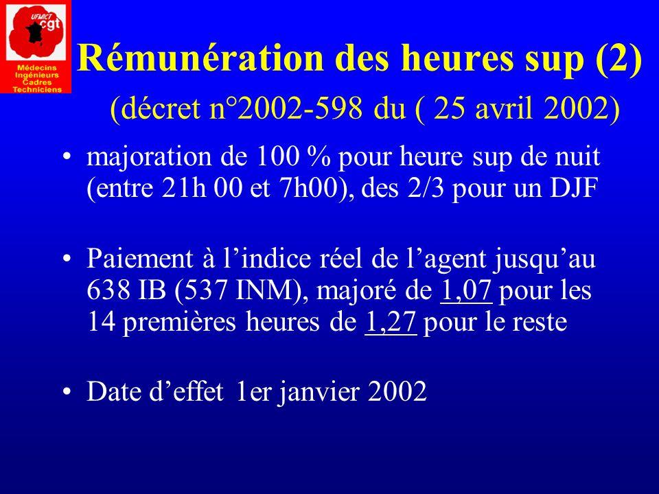 Rémunération des heures sup (2) (décret n°2002-598 du ( 25 avril 2002)