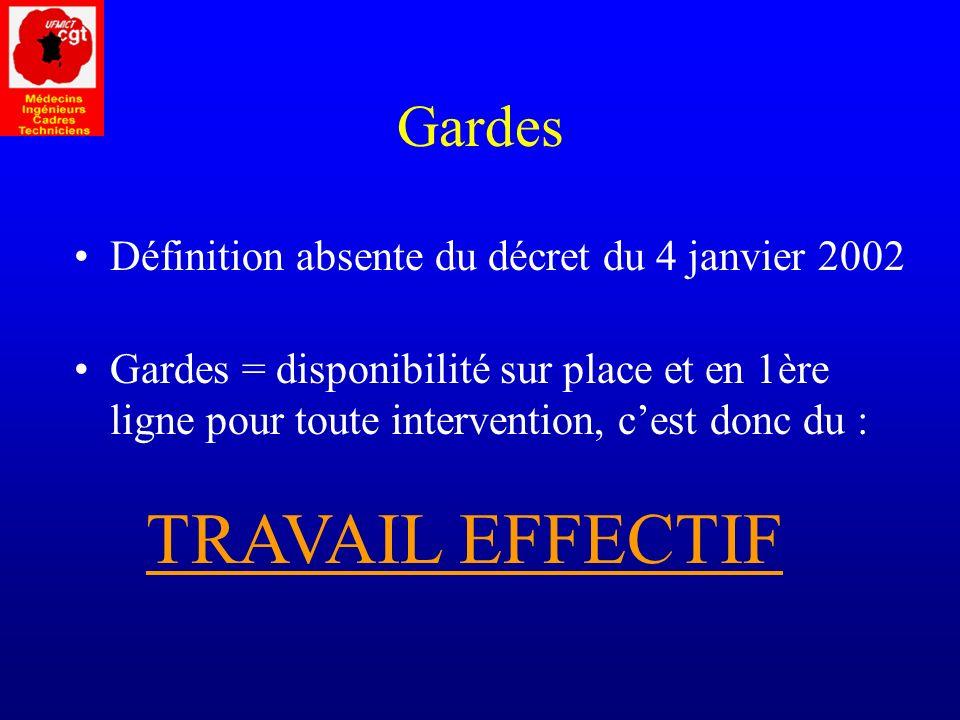TRAVAIL EFFECTIF Gardes Définition absente du décret du 4 janvier 2002