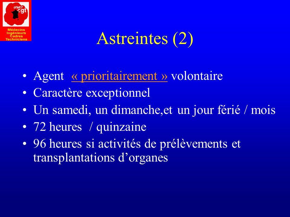 Astreintes (2) Agent « prioritairement » volontaire
