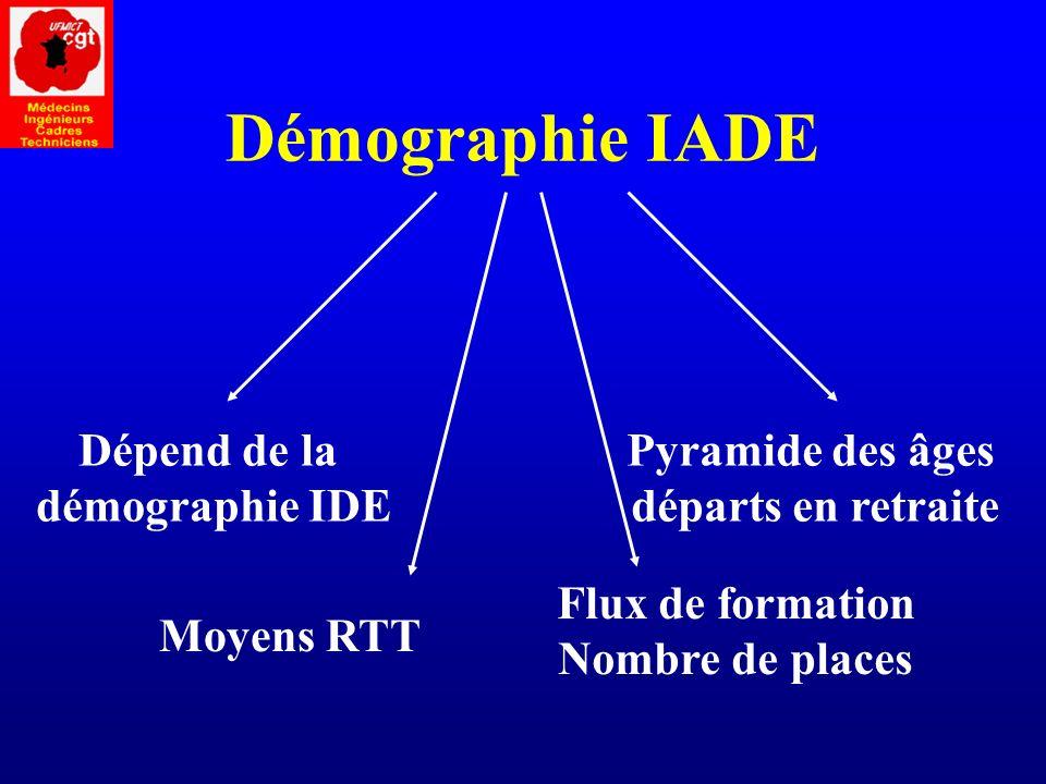 Démographie IADE Dépend de la démographie IDE Pyramide des âges