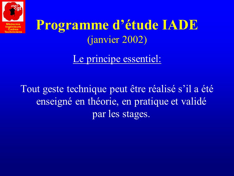 Programme d'étude IADE (janvier 2002)