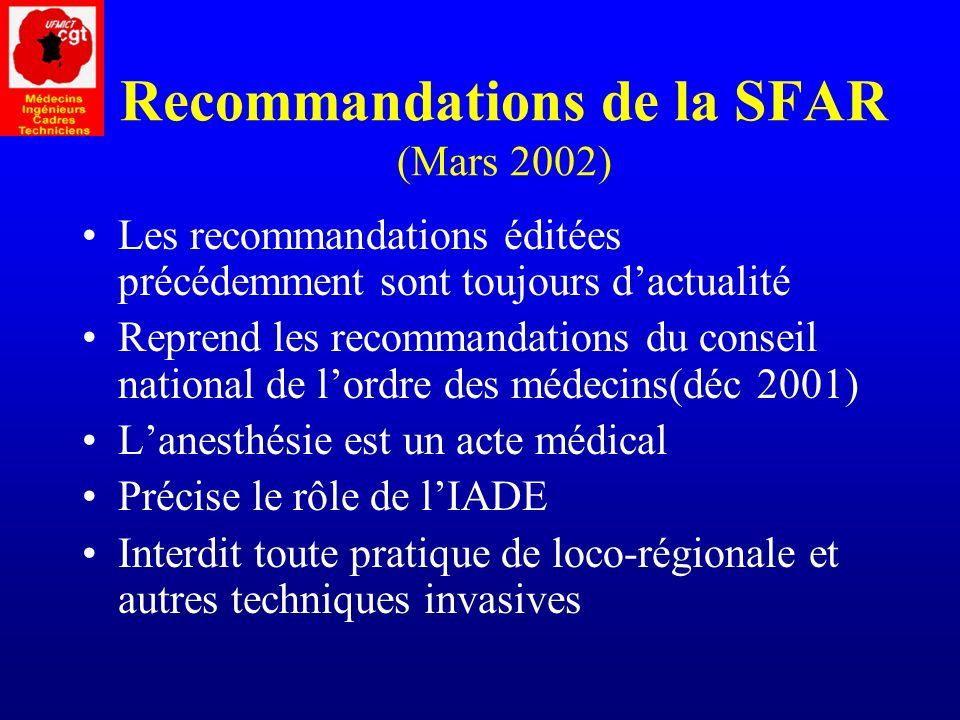 Recommandations de la SFAR (Mars 2002)