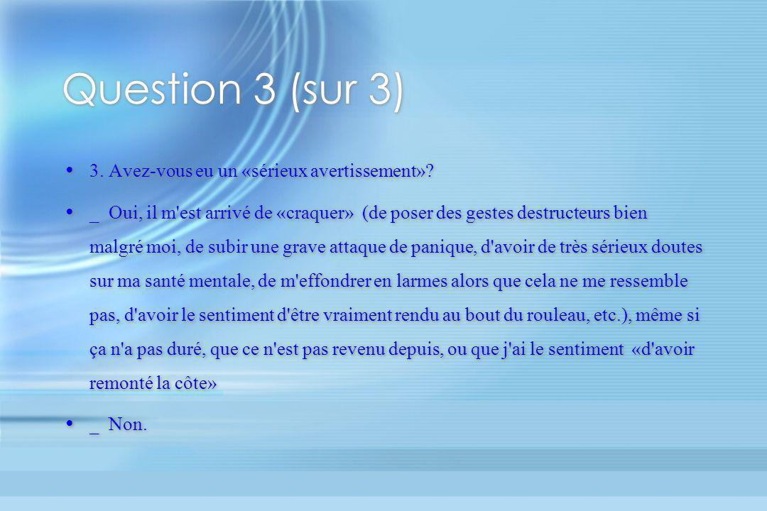 Question 3 (sur 3) 3. Avez-vous eu un «sérieux avertissement»