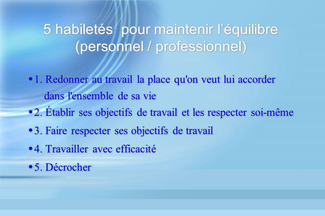 5 habiletés pour maintenir l'équilibre (personnel / professionnel)