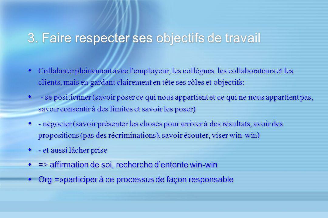 3. Faire respecter ses objectifs de travail