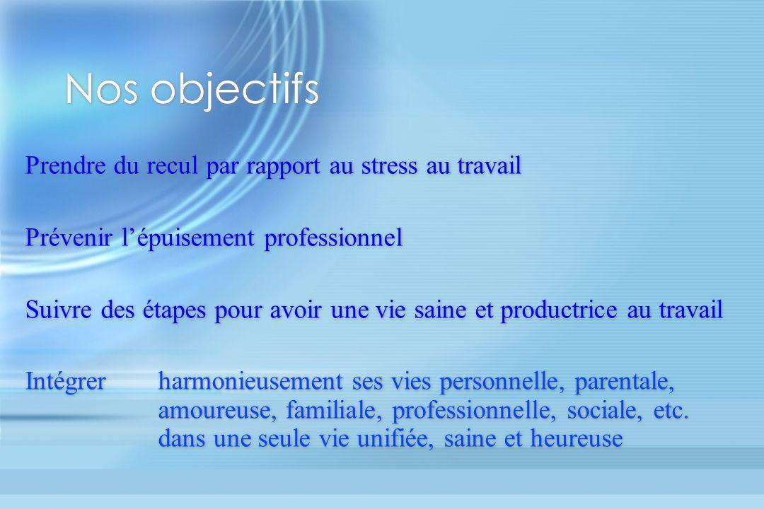 Nos objectifs Prendre du recul par rapport au stress au travail