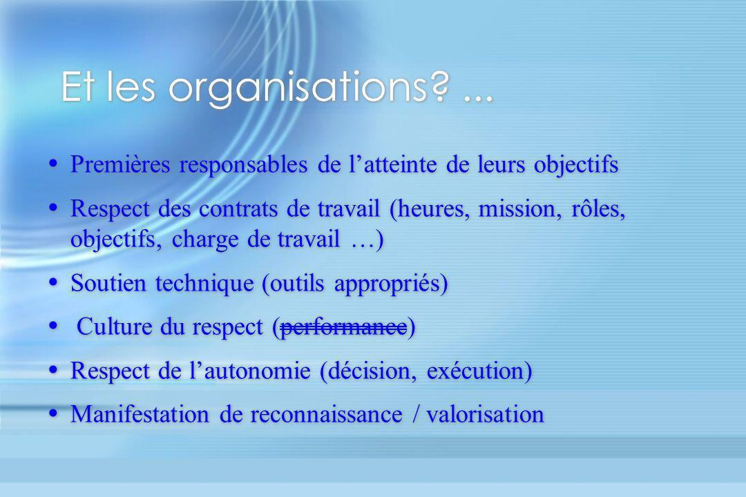 Et les organisations ... Premières responsables de l'atteinte de leurs objectifs.