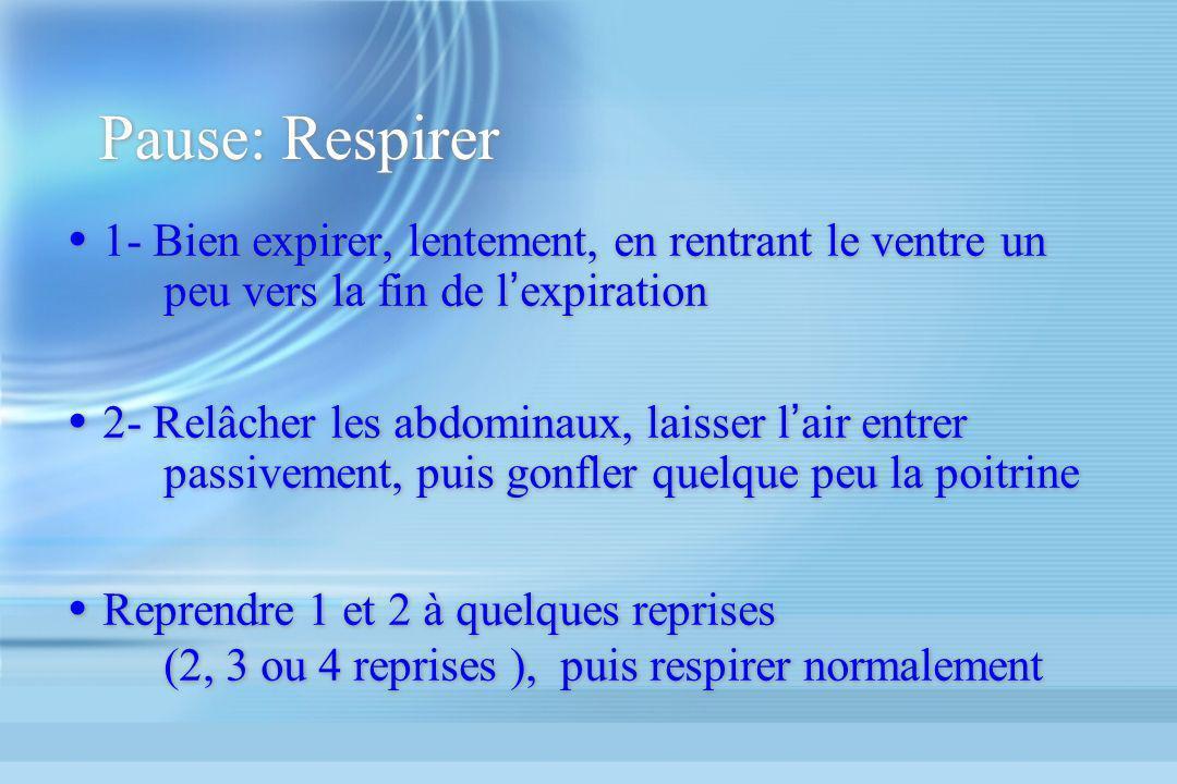 Pause: Respirer 1- Bien expirer, lentement, en rentrant le ventre un peu vers la fin de l'expiration.