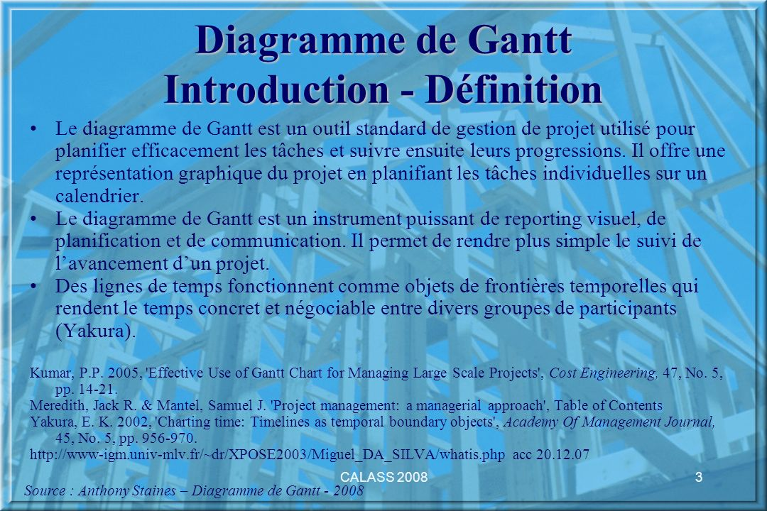 Diagramme de Gantt Introduction - Définition