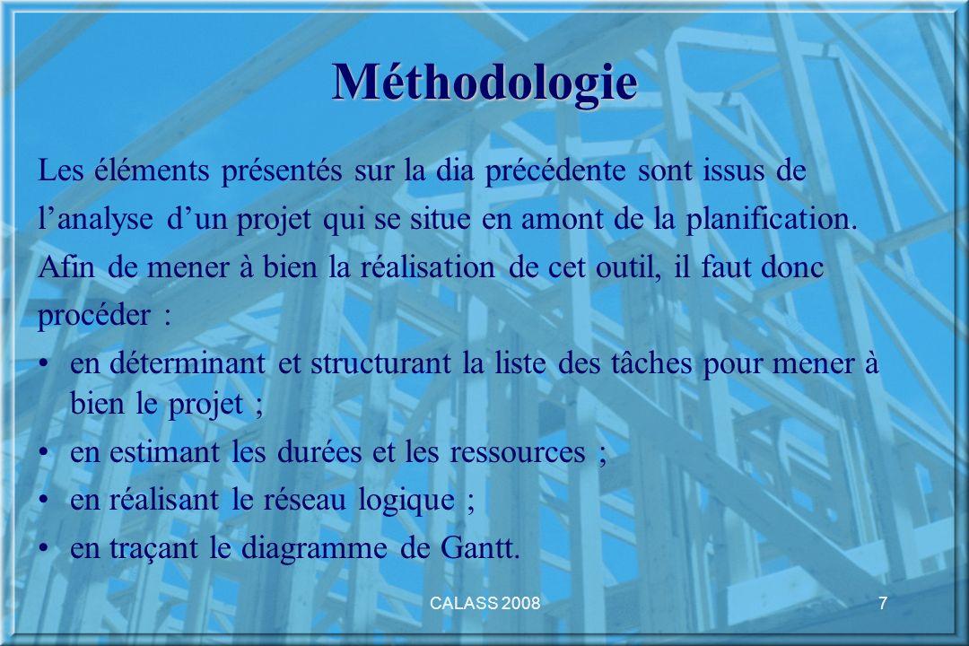 Méthodologie Les éléments présentés sur la dia précédente sont issus de. l'analyse d'un projet qui se situe en amont de la planification.