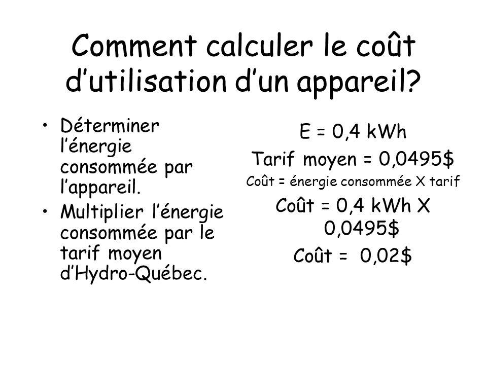 la consommation d u2019 u00e9lectricit u00e9 d u2019un appareil  u00e9lectrique