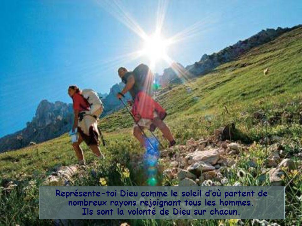 Représente-toi Dieu comme le soleil d'où partent de nombreux rayons rejoignant tous les hommes.