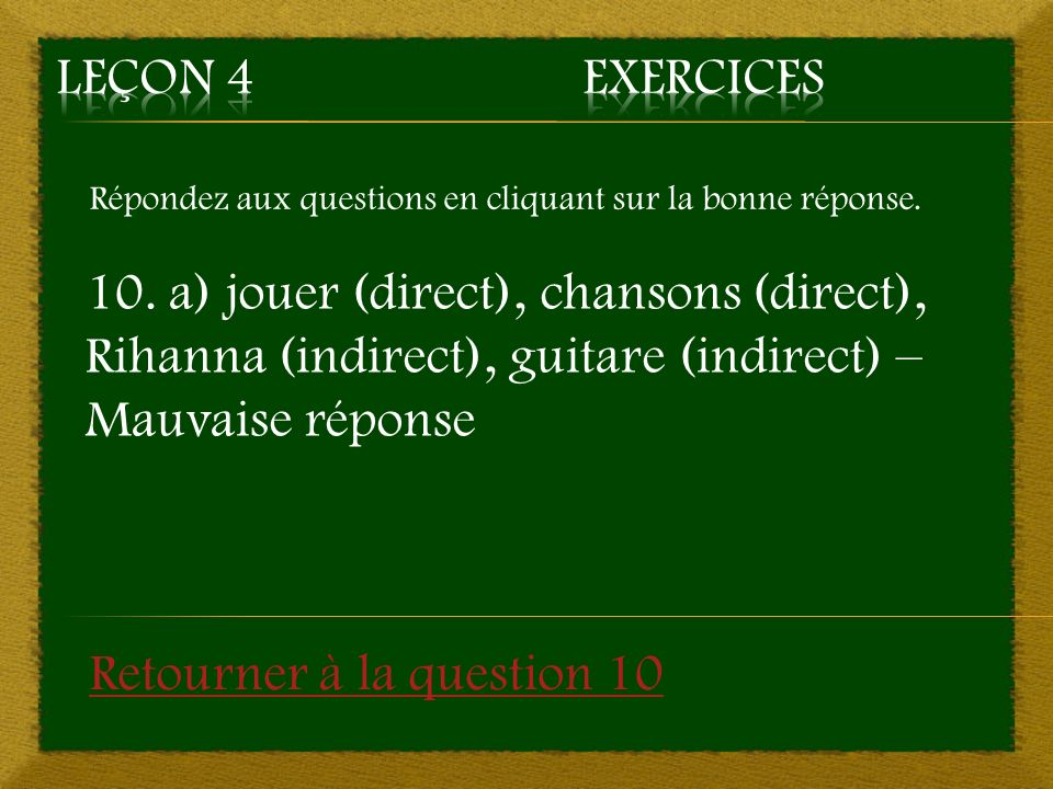 Retourner à la question 10