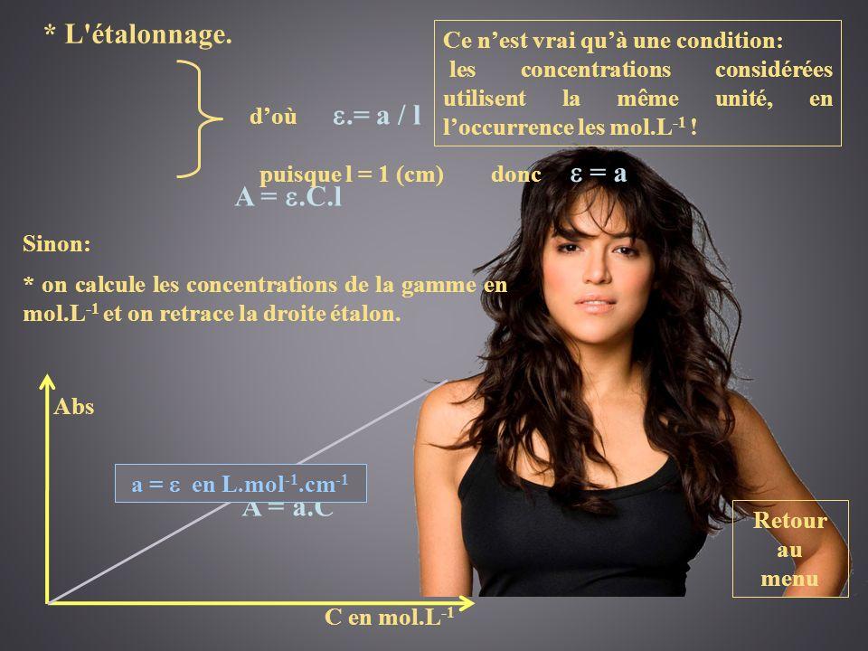 etal epsilon * L étalonnage. A = e.C.l A = a.C