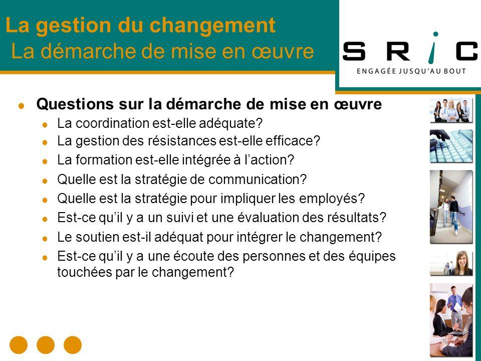 La gestion du changement La démarche de mise en œuvre