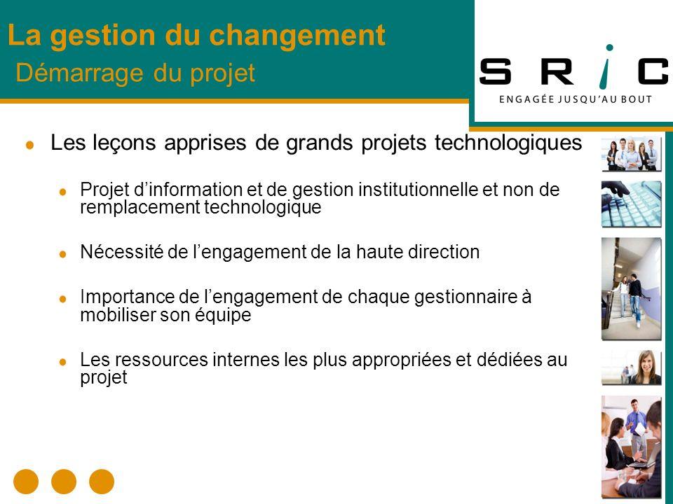 La gestion du changement Démarrage du projet