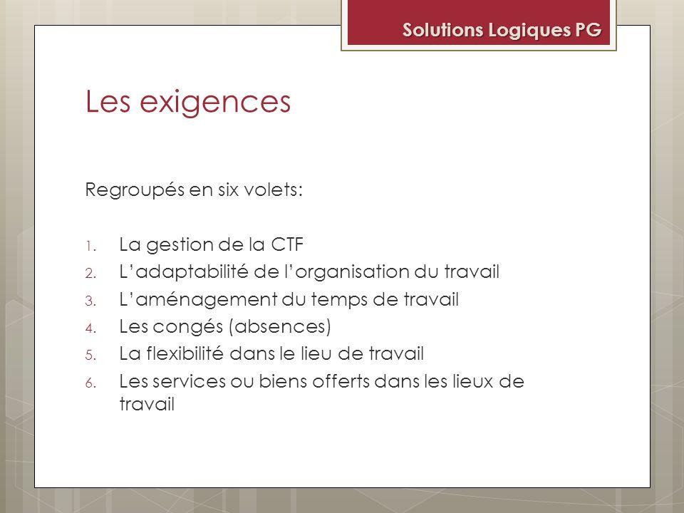 Les exigences Solutions Logiques PG Regroupés en six volets:
