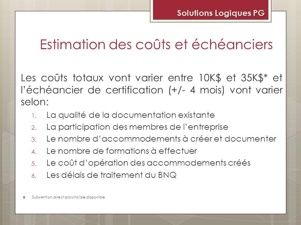 Estimation des coûts et échéanciers