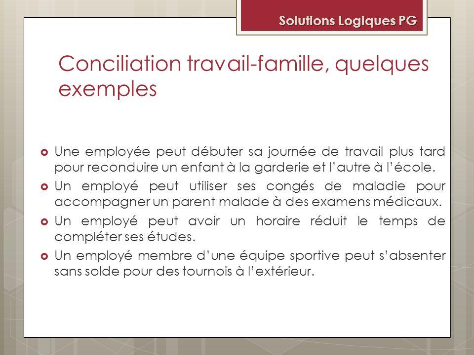 Conciliation travail-famille, quelques exemples