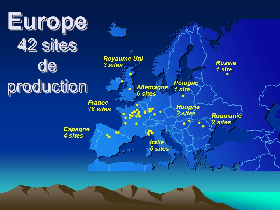 Europe 42 sites de production