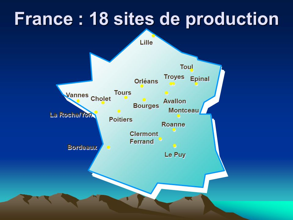 France : 18 sites de production