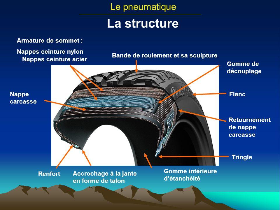 Le pneumatique La structure Armature de sommet : Nappes ceinture nylon