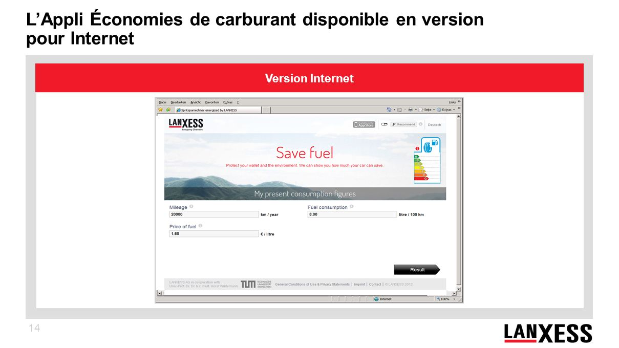 L'Appli Économies de carburant disponible en version pour Internet